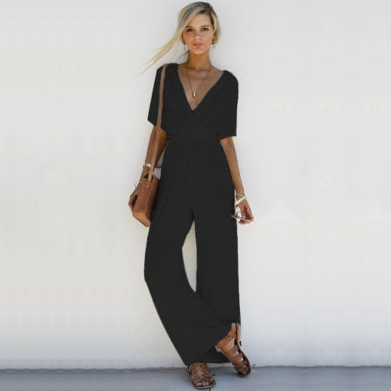 Plain Short Sleeved Jumpsuits