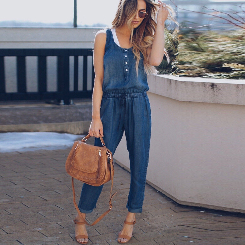 Jeans Sleeveless Jumpsuits